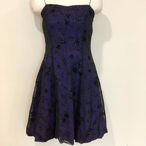 Dark Blue Purple Short Dress Black Lace Overlay
